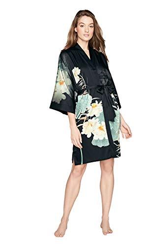 Women's Charmeuse Kimono Robe Short - Watercolor Floral - Maren- Black