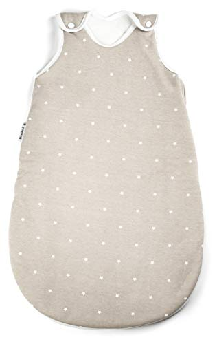 Ehrenkind® Baby Sommerschlafsack Rund | Bio-Baumwolle | Sommer Schlafsack Baby Gr. 74/80 Farbe Taupe mit weißen Sternen