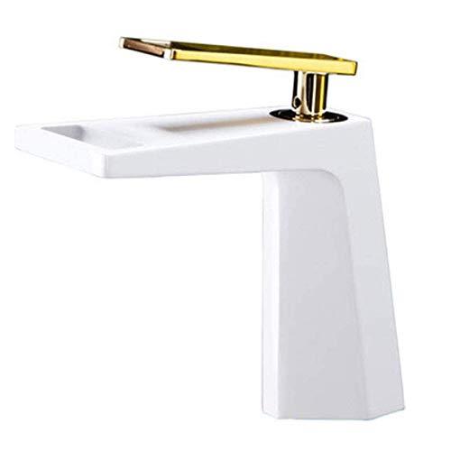 HNLSKJ El Agua del Grifo-baño Cascada Grifo, la Sola manija baño Grifo Monomando baño Agujero de Cobre Cascada Adecuado for baño y Cocina, Blanca ggsm