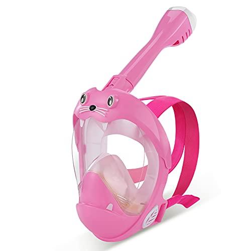 IMMEK Máscara de Buceo para niños,León Marino Máscara de Snorkel Doble Vía Aérea Panorámica Gafas Buceo de Cara Completa Gafas de Bucear Anti-Niebla y Anti-Fugas (Rosa)