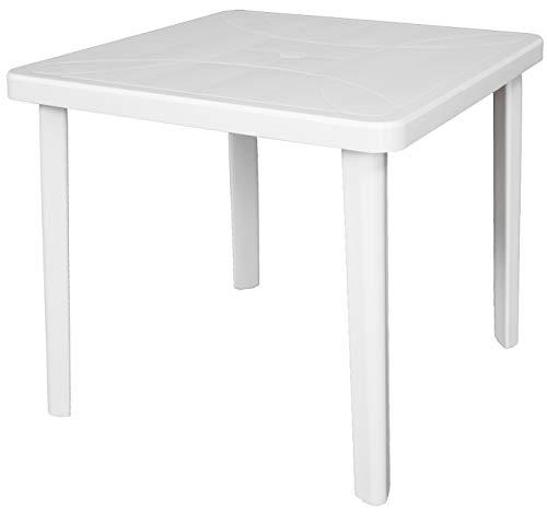 SF SAVINO FILIPPO Tavolo tavolino Quadrato 80x80 Nettuno in Dura Resina di plastica Bianco con Foro per ombrellone per Esterno casa Balcone Bar sagra da Giardino