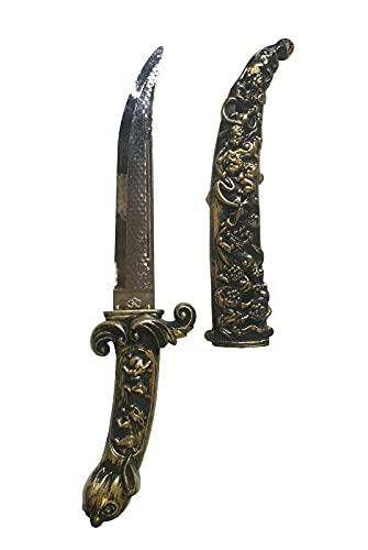 MIMIKRY Daga dorada con vaina de 39 cm, accesorio para disfraz de 1001 noches, oriental, del príncipe Araber