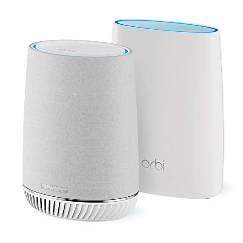 NETGEAR Orbi Tri-band Whole Home Mesh WiFi System with Built-in Smart Speaker and 3Gbps Speed...