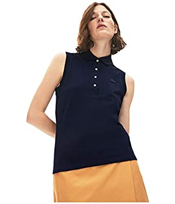 Lacoste Women's Sleeveless Slim FIT Classic Polo, Navy Blue, 8