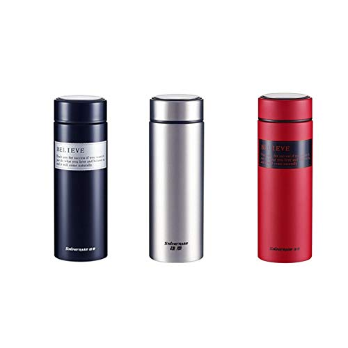 Kettle, Thermos Cup,portable Stainless Steel Thermos Of Great +Rotating Cover+Suitable For Any Bicycle And Car Cup Holder-Silver/Black/Red-500ml,Gift Boxed, The Best Choice For Gift Giving, Travel mug
