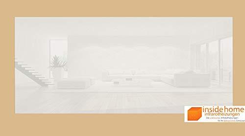 insidehome   Infrarotheizung Glasheizung ELEGANCE Classic   Glas rahmenlos   deutsche Top-Qualität   Farbe: weiss   900 Watt - 140 x 60 x 2,5 cm