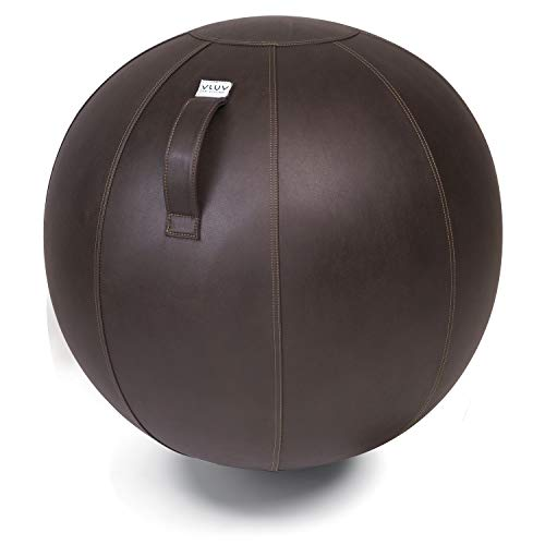 VLUV VEEL Sitzball, ergonomisches Sitzmöbel für Büro und Zuhause, Farbe: Mokka (Dunkelbraun), Ø 70cm - 75cm, Bezug aus Mikrofaser-Kunstleder, robust und formstabil, mit Tragegriff