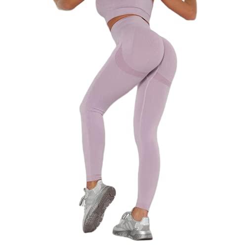 Leggings sin Costuras de Cintura Alta Push up Sexy Deportes Fitness Correr Pantalones de Yoga Pantalones elásticos de energía Leggings de Gimnasio G L