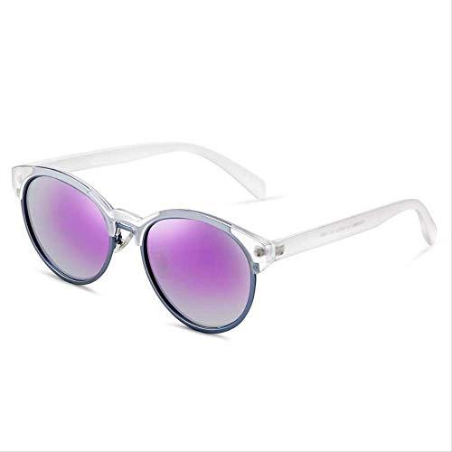 ZCFDDP Occhiali da Sole Retro Round Frame Occhiali da Sole polarizzati Moda Femminile Occhiali Colorati Occhiali da Guida Femminili Migliore RegaloCornice Trasparente