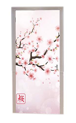 A.Monamour Pegatinas De Pared Rama De Cerezo De Japón con Flores Rosadas En Flor Fondo Floral Romántico De Sakura Vinilo Puerta Calcomanías Papel Tapiz Murales De Pared Pegatinas Posters Autoadhesivo