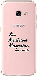 """ZOKKO Case for Samsung A3 2017 -""""Best Godmother of the World"""" Design - Transparent - Black Ink"""