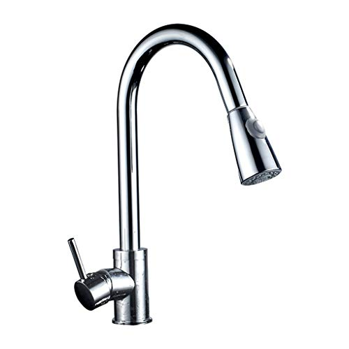 zhibeisai Polished Kitchen Sink Faucet Pull Down Sprayer 360° Swivel Mixer Tap Sink Basin Water Tap