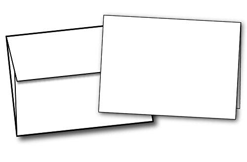 Schwere, kleine, unbeschriftete Notizkarten mit Umschlägen zum Basteln von Grußkarten, Dankeskarten & Grußkarten, hellweiß, Set mit 40 Karten & Umschlägen