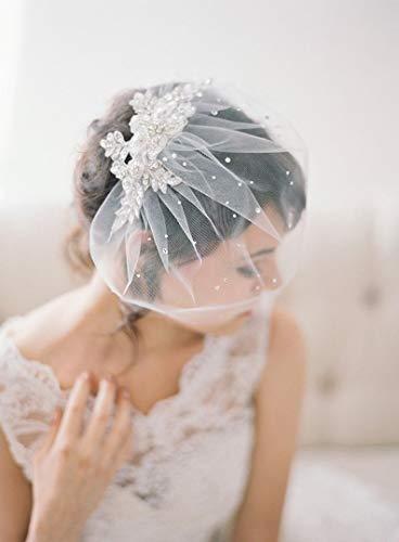 weichuang Vogelkäfig-Schleier mit Braut-Kopfschmuck, Hochzeits-Haarnadel, Braut-Haarkamm, Kristallperle, Brautschleier, Kopfschmuck, Brautschmuck (Farbe: Elfenbein)