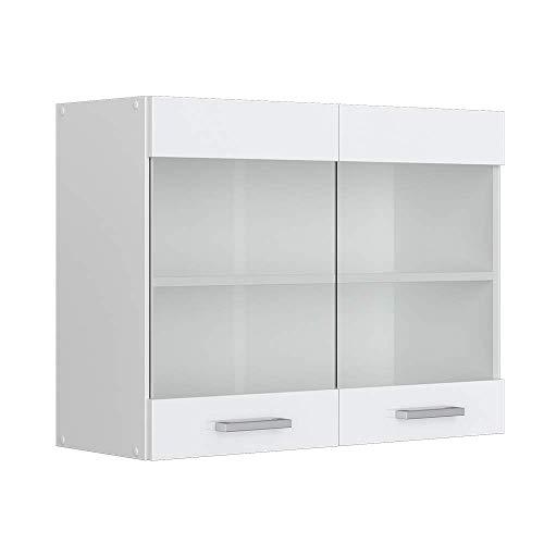Vicco Küchenschrank Hängeschrank Unterschrank Küchenschränke Küchenunterschrank Arbeitsplatte, Möbel verfügbar in anthrazit und weiß (weiß ohne Arbeitsplatte, Hängeglasschrank 80 cm)