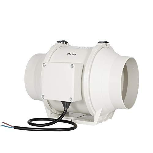 Ventilador de escape, HG Power 125mm Ventilador Extractor de Aire en Línea con Motor de Dos-velocidades para Oficina, Hotel, Baño - 284m³/h Ventilación (125mm)