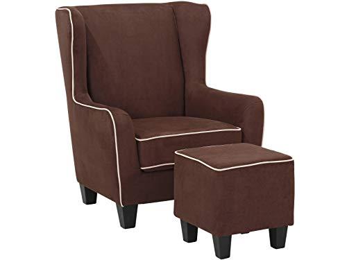 Loft24 A/S Sessel mit Hocker Ohrensessel Polstersessel Armsessel Fernsehsessel Lesesessel Vintage gepolstert (braun, Microfaser)