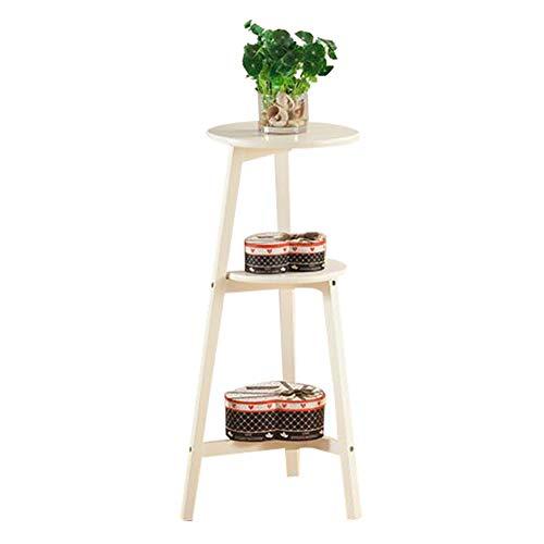 YYFANG Gartenregal Holz Dekorativ EIN Zimmer Buchen Display-Rack Rundes Laminat Umweltschutz, 3 Spezifikationen (Farbe : Weiß, größe : 38X42X60cm)