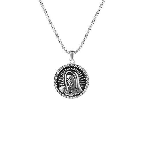 Gudeke Etiqueta Redonda Pequeño Colgante de la Virgen María Collar de Medalla milagrosa