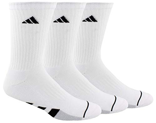 adidas Men's Cushioned Crew Socks (3-Pair), White/Black/White - Clear Onix Marl, Large, (Shoe Size 6-12)