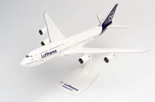 Herpa 611930-Boeing 747-8, Intercontinental, biplano de Lufthansa, Alas, avión con Soporte, fabricación,...