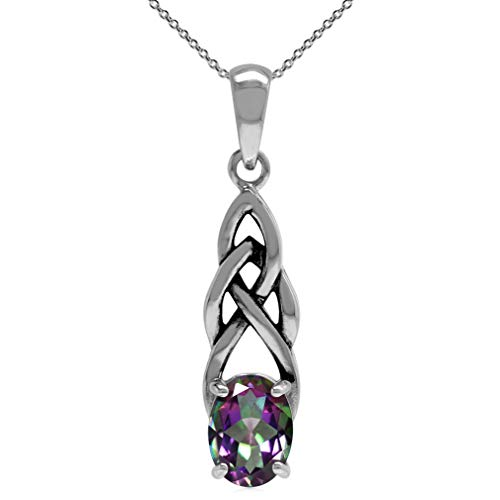 Silvershake 1.44ct. Mystic Fire Topaz 925 Sterling Silver Celtic Knot Solitaire Pendant with 18 Inch Chain Necklace