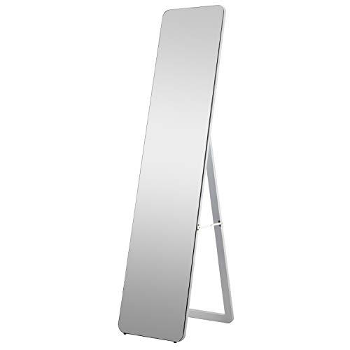 160 x 37 cm Bodenspiegel Ganzkörperspiegel mit Ständer Wandspiegel Standspiegel Ankleidespiegel für Schlafzimmer Wohnzimmer Abgerundete Ecke Holzrahmen - Weiß