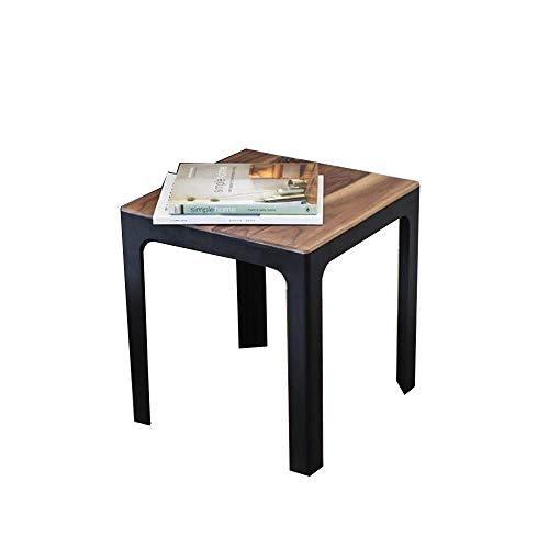 Mesa auxiliar de bandeja, mesa auxiliar de mesas, mesa de centro cuadrada, mesita de noche / mesita de noche, multiusos, marco de madera maciza / metal de nogal, para el hogar, oficina, sala de estar,