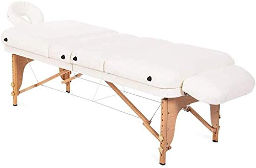 ZOUSHUAIDEDIAN Mesa de Masaje portátil, Cama Plegable de aleación de Aluminio Ajustable Profesional, Hoja de protección Ultra-Duradera de Cuero PVC para mesas de Masaje, Blanco