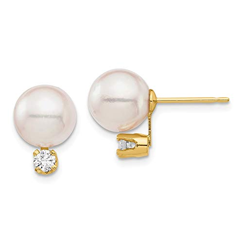 14k Yellow Gold 8-9mm White Round Saltwater Akoya Cultured Pearl Diamond Post Studs Earrings mm (.1 cttw.)