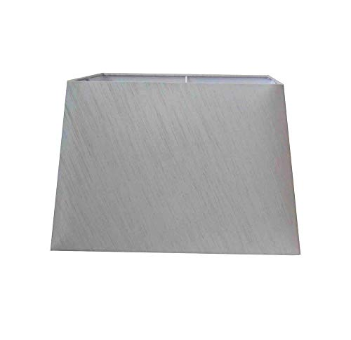 KAYKRAFT Light Silver Grey Rectangular Table Lamp Shade - Size: 15'