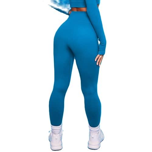 QTJY Medias de Yoga Sexy de Cintura Alta, Pantalones de Yoga sin Costura para Mujer Push-ups, Pantalones Deportivos elásticos para Correr D Small