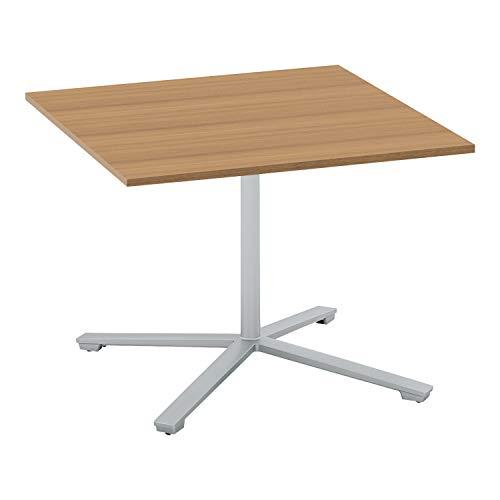 コクヨ ミーティングテーブル ビエナ フラップタイプ 正方形 単柱脚 塗装脚 幅90×奥行90cm キャスター仕様 ラスティックミディアム/フラットシルバー