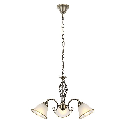 Kron Globo 60208-3 - Lámpara colgante (latón envejecido, cristal satinado)