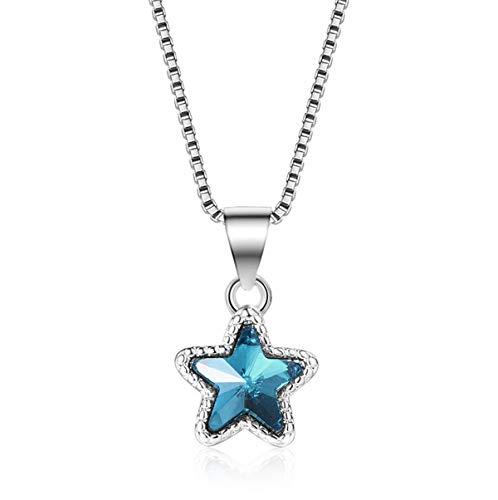 Kette Pentagramm Damen Halskette 925er Silber Anhänger Blau Künstlicher Kristall Klein Stern Schmuck 45CM Kettenlänge Geschenk für Damen Mädchen