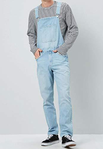 CCDYLQ Retro Denim Blue Männer Jeans-Latzhose Lange Jeanshosen Overall, dünner Sitz Street Stonewashed Rip Arbeit Hosen-Overall Fit Big König All Taille 30W-37W,A,XL