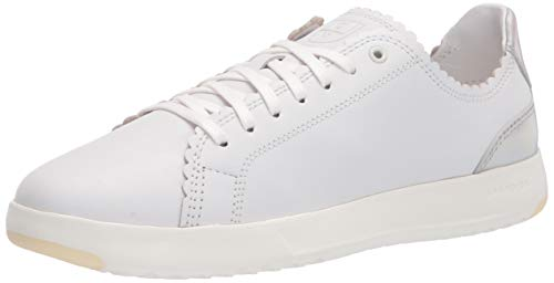 Cole Haan mens Grandpro Tennis Scalloped Laceup Sneaker, Optic White Leather/ Iridsecent/ Optic White, 10 US