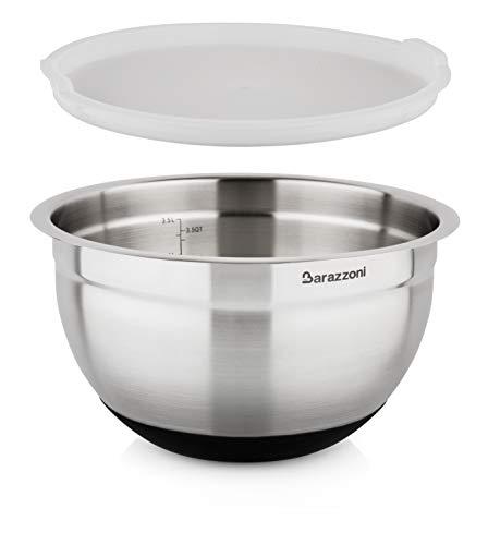 Barazzoni Bowl Acciaio Inox 18/10 ø24cm x H14,5cm C/Cop, 18/10-Silicone, Diametro 24 cm