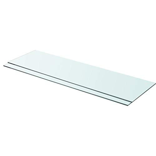Festnight Regalböden 2 STK. Glas Transparent 90 x 25 cm Regalboden Glas Glasboden Glasscheibe Glasplatte Regalbrett Ersatz Platte Glasscheibe für Glasregal Klarglas Transparent
