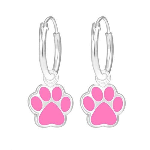 Laimons - Pendientes para niña, pendientes de aro para niños, joyas para niños, pata de perro, pata rosa, 9 mm, plata de ley 925 brillante