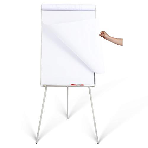 "DexBoard Magnetic Whiteboard Easel 24"" x 36"" Height Adjustable Dry Erase Board Tripod Office Presentation Board w/ Flipchart Pad, Magnets & Eraser, White"