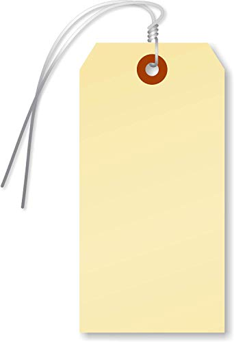 SmartSign Blank Manila Shipping Tags with Wire, Size #5 | 13pt Cardstock Tags, 4 3/4