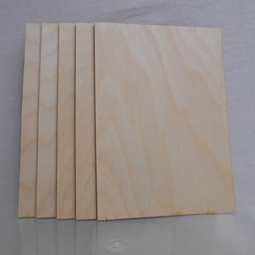 Craft shapes 5 x Birkensperrholzplatten, A6, 0,8 stark. Ideal für Pyrogaphie, Modellierung. basteln