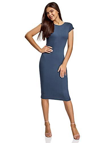 oodji Collection Damen Midi-Kleid mit Ausschnitt am Rücken, Blau, DE 38 / EU 40 / M