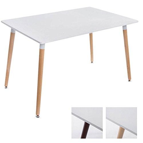 CLP ESS-Tisch BJARNE, eckig, Holz-Beine, 120 x 80 cm, Design, mit Bodenschoner, Tischplatte: weiß/Gestell: Natura