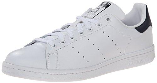 adidas Originals Men's Stan Smith Leather Sneaker, Core White/Core White/Dark Blue, 20