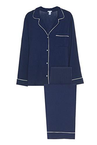 Eberjey Women's Gisele Two-Piece Long Sleeve & Pant Pajama Sleepwear Set, Navy/Ivory, Medium