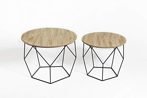 LIFA LIVING 2X 2er Set runde Couchtische aus schwarzem Metall und MDF-Holz, 4 Geometrische Beistelltische im mit Drahtkorb, Moderne Kaffeetische bis 20 kg belastbar