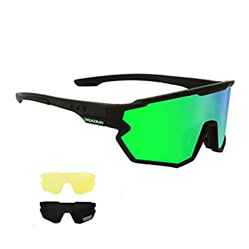 Polarized Cycling Glasses Sports Sunglasses UV Protection Running Sunglasses 3 Interchangeable Lenses  Including night yellow enhancement lens  for Men Women Youth Outdoor Glasses for Baseball Volleyball Baseball Driving Fishing