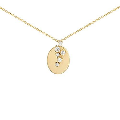 Oro 18k girocollo Circles 42cm di raccolta. 0.05ct diamanti brillanti. piatto ovale catena forzata
